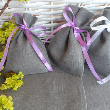 FREE SHIPPING 40 Rustic Linen  favor bags Gray bags with ribbon Wedding Favor Bag lilac, white ribbon.