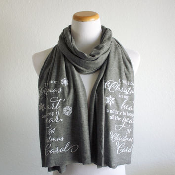 A Christmas Carol Literary Scarf // Charles Dickens Quote // Knit Jersey Raw Edged Scarf