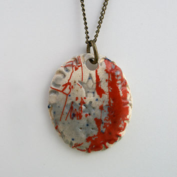 Bloody Mary oval pendant White stoneware necklace by ferceramics