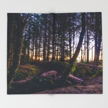 Wooded Tofino Throw Blanket by Mixed Imagery