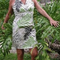 Sexy Halter - Tropical Ferns Women's Fitted Dress