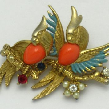 MARCEL BOUCHER Figural Parrots Coral Turquoise Bird Brooch Pin
