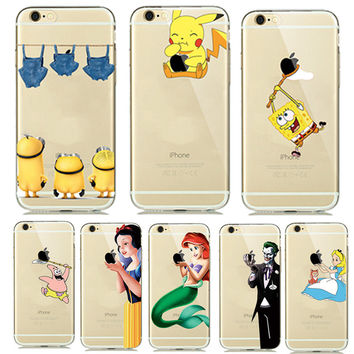 Cute Cartoon Pokemons Go Pikachue Case for coque iphone 7 Plus 6 6S 5 5SE Soft Transparent Cover Mermaid Minion Case Accessories