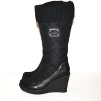 GUESS Boots Quillaan Black Quilted Tall Boots Wedge Platform Boots Size 7 1/2 M