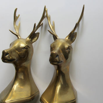 Vintage Set of Brass Buck Deer Head with Antlers Bookends 1970s