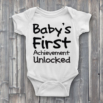 Baby's first achievement unlocked, gamer Onesuits, onsies, baby's first, baby Onesuit, baby shower gifts