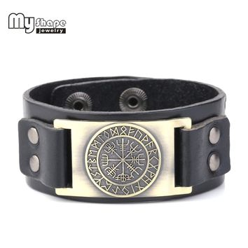My Shape 2018 New Dropshipping Viking Vegvisir Compass Pendants Bangle Nordic Runes Men Jewelry Odin Symbol Leather Bracelets+