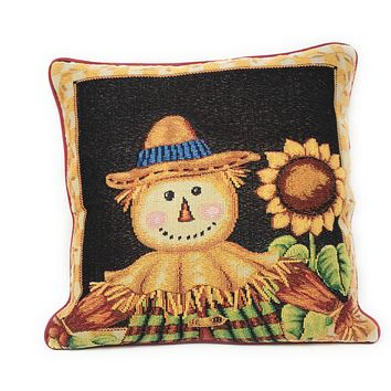 Tache Sunflower Field Scarecrow Autumn Harvest Woven Tapestry Cushion Cover (11712CC)