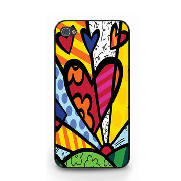 New Love Romero Britto Neo-pop Abstract Artwork iPhone 4 4S / iPhone 5 Hard Case Cover