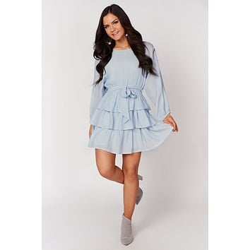 Never Say Goodbye Long Sleeve Ruffle Dress(Dusty Blue)
