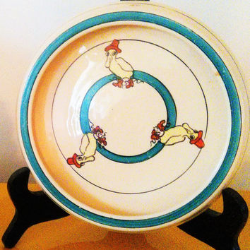 Roseville Pottery Creamware Juvenile Puddle Duck Plate Roseville Rolled Edge Duck Baby Plate Vintage Child's Plate