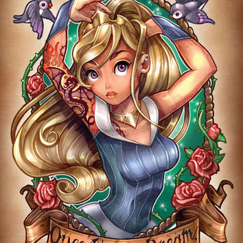 Once Upon A Dream (blue dress) Art Print by Tim Shumate | Society6