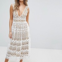Boohoo V Neck Midi Lace Dress at asos.com