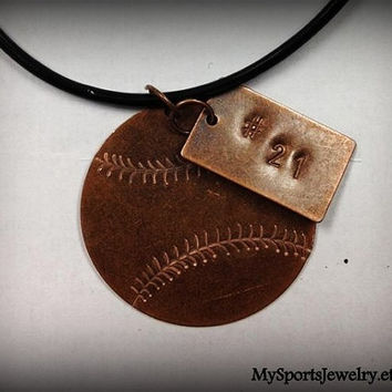 Custom Hand Stamped  Antique Sports Necklace (Baseball, Softball)