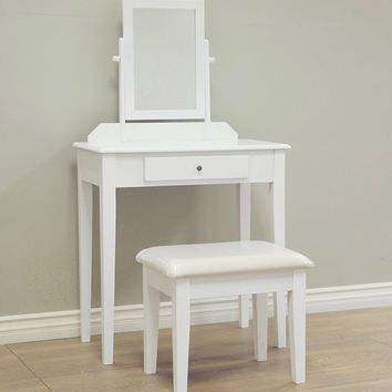 White Solid Wood Bedroom Vanity Set with Rectangle Mirror and Bench