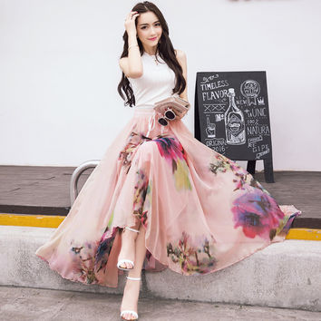 2017 New Fashion Elastic Waist Casual Chiffon Skirt Summer Bohemian Floral Print Beach Maxi Flower Long Skirt For Women