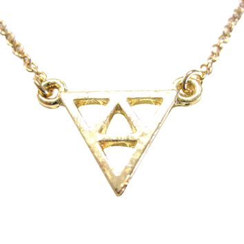 Gold Toned Geometric Triangle Design Pendant Necklace