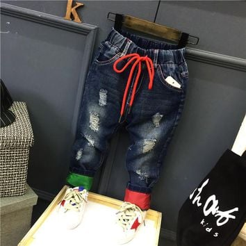 baby boys fashion spring autumn jeans kids denim blue holes casual trousers toddler casual all matched pants children clothes