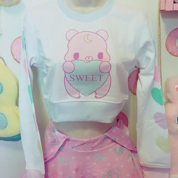 Conversation Heart Bunny and Bear Crop Top Sweater, Yume Kawaii Sweater, Kawaii Sweater, Pastel Sweater