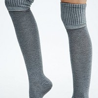 Fold Cuff Over The Knee Socks in Grey - Urban Outfitters