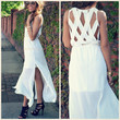 Jasmine Bay White Lattice Back Maxi Dress