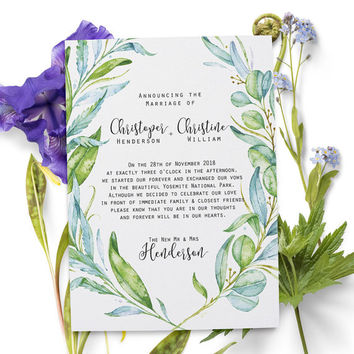 Elopement Announcement Cards, Wedding Announcement Cards, Printed and Printable Elopement Announcement Cards #48