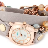 La Mer Collections Women's LMMULTI2000 Brazil Stones Chain Wrap Watch