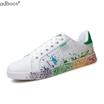 boys brand white shoes mix colors ink painting style mens shoes colorful white man's shoes plus large size US 11 12 Euro 45 46