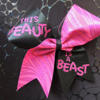 This beauty is a beast cheer bow by BragAboutItCheerBows on Etsy