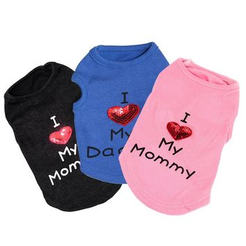 Spring Pet Dog Coat Puppy Clothes for Small Dog Cat Vest Casual Clothing T-shirts Warm Hoodies Love Mommy Pet Apparel 35