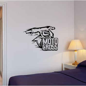 Wall Decal Moto Cross Sport Racing Extreme Garage Bike Vinyl Sticker (ed1331)