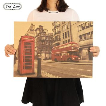 London Red Bus and Telephone Booth Kraft Paper Wall Cafe Bar Home Decor Vintage Poster