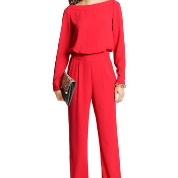 Cynthia Long Sleeve Jumpsuit in Poppy
