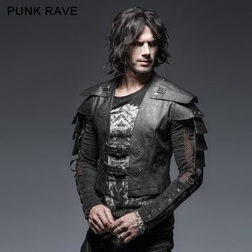 PUNK RAVE Steampunk Black Military Uniform Warrior Leather Man Jackets Cufflinks Slim Rock Vintage Long Sleeve Handsome PU Coats
