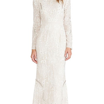 Needle & Thread Lace Petal Maxi Dress in Cream
