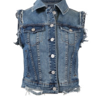 Vintage washed denim vest