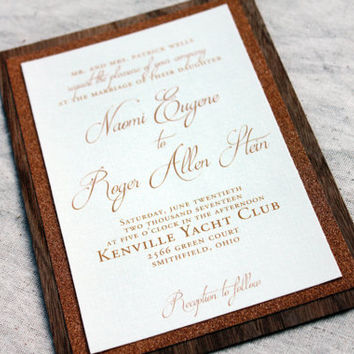 Wood and Glitter Rustic Wedding Invitation, Real Wood Invitation, Wedding Invitation With Glitter, Rustic Chic Wedding Invitaitons, Sample