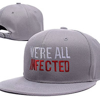 RHXING The walking Dead We're All Infected Logo Adjustable Snapback Embroidery Hats Caps - Grey