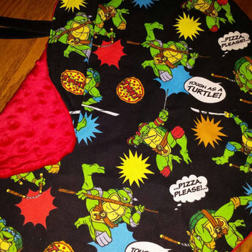 Baby Blanket RoUND MiNi Lovie Snuggle Security Teenage Mutant NINJA TURTLES RoUND PIZZA Blanket with Soft Minky Back & Wrist Strap