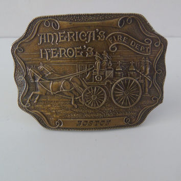 Americas Heroes Vintage 1970s  Belt Buckle Boston Fire Department Horse Drawn Carriage Bergamot Brass S -36