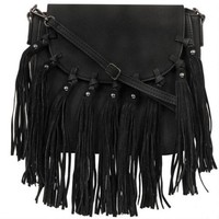 Black Rivet Catarina Fringe Faux-Leather Crossbody - Crossbody - Handbags & Accessories - Wilsons Leather
