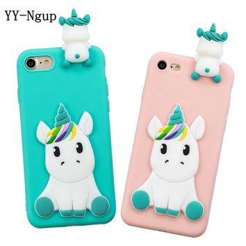 Case on for iPhone 5 5s se iPhone 7 Covers 3D Unicorn Silicon Ca 75544d6c4