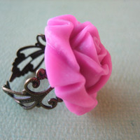 Magenta Rose Flower Ring - Adjustable Antique Brass Ring - Free US Shipping - Jewelry by ZARDENIA