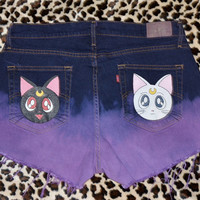 SAILOR MOON Luna and Artemis Ombre Studded Shorts (Made to Order)