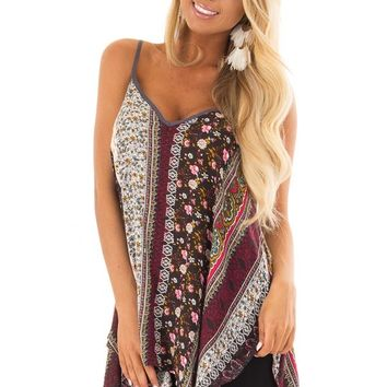 Boho Print Tank Top with Back Strap Detail