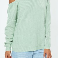 Missguided - Mint Green Off Shoulder Knitted Jumper