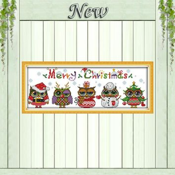 Christmas owls cartoon diy crafts painting counted print on canvas DMC 11CT 14CT kit DMS Cross Stitch embroidery needlework Sets