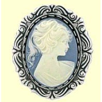 Lady on Blue Cameo Silver Brooch Pin - Only 1 Available!