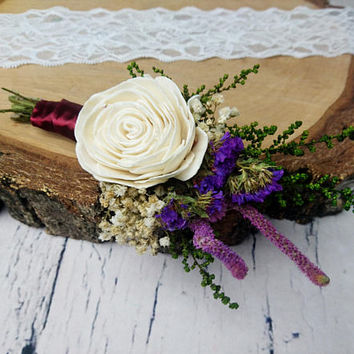 Preserved flowers wedding groom's boutonniere ivory rose sola flower greenery purple Burgundy wine deep fall winter vintage elegant natural
