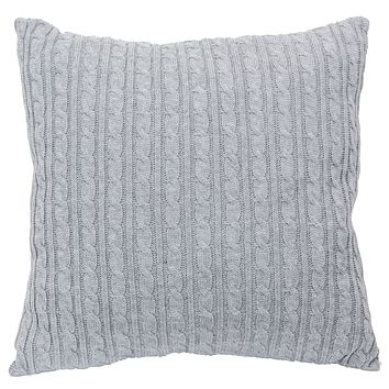 Cable Knit Light Gray Pillow - 20-in